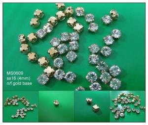 (#MS0609/ss16/4mm) DIY craft nickel free gold with crystal sew-on rhinestone cup loose