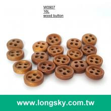 (#W0907) 16L 4 holes brown colored natural wood woman shirt button