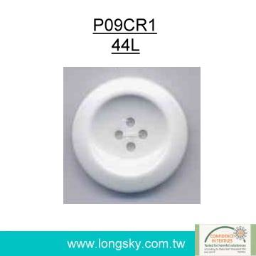 (#P09CR1) 4 hole round back plastic resin white large coat button