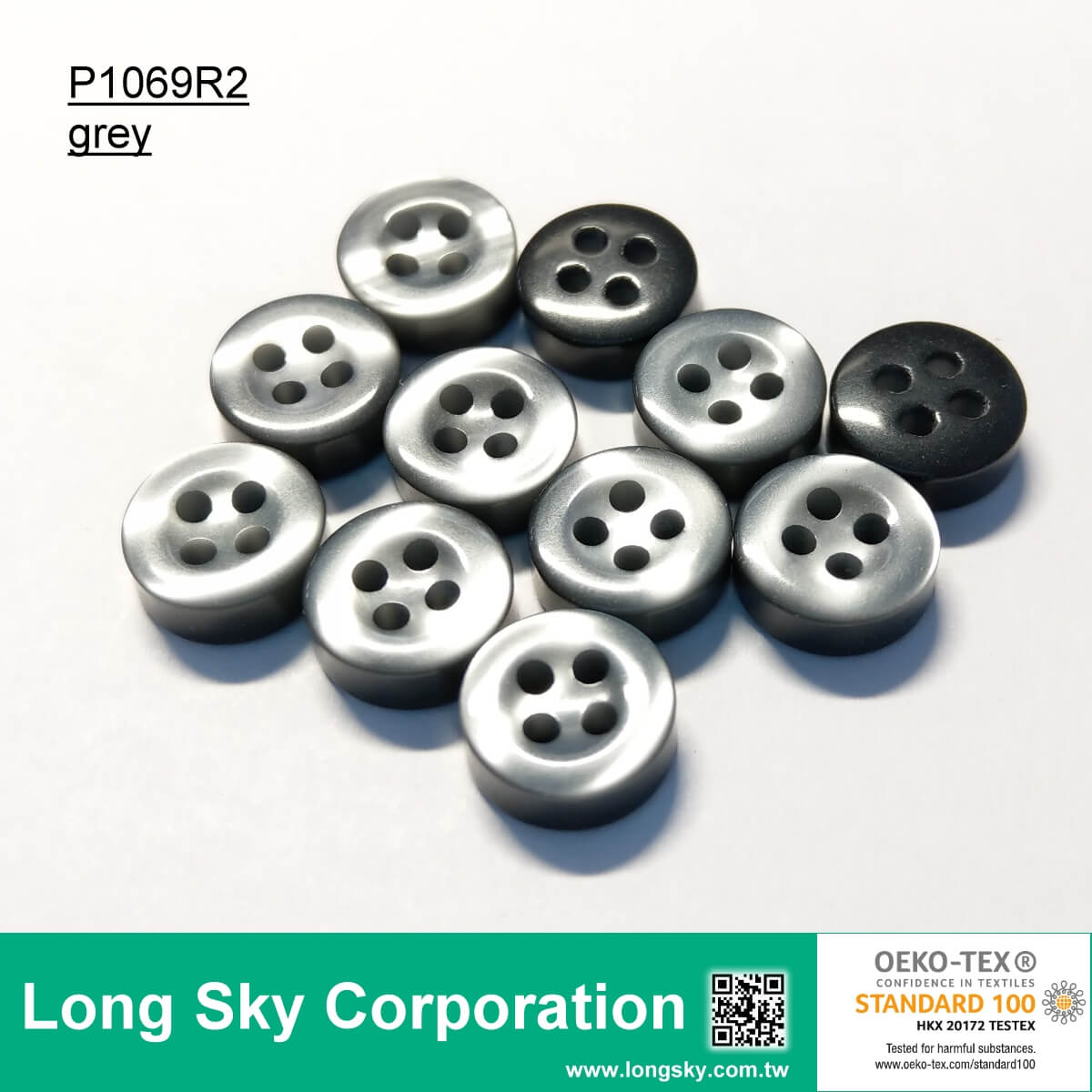 (P1069R2) 16L, 14L light cream and grey color Imitation Shell Polyester Resin Shirt Button