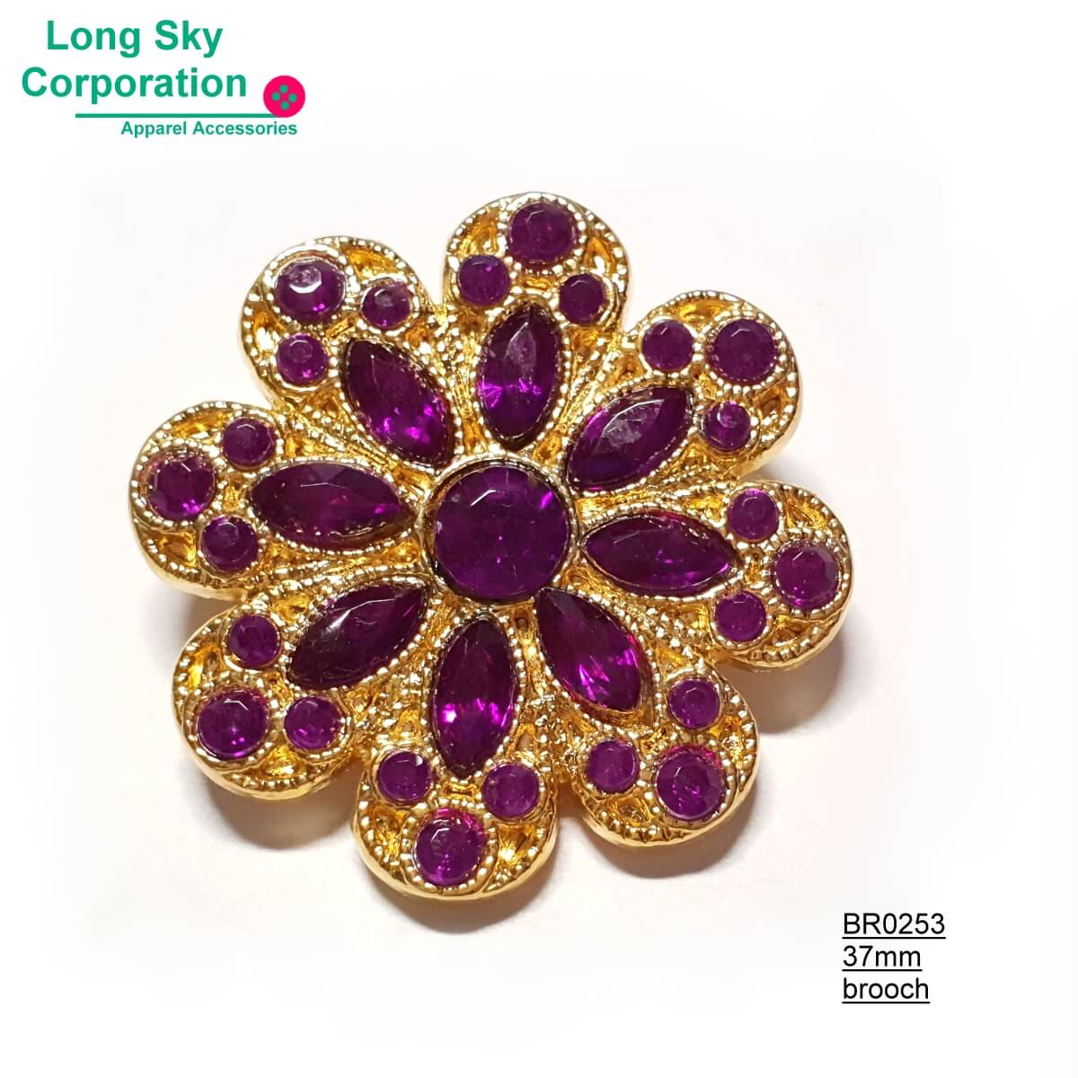 (BR0253~5) fancy stone decorated flower brooch for lady suit