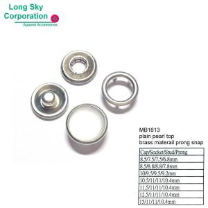 (MB1613) 8.5mm to 15mm cap lead free polyester resin top brass prong snap button