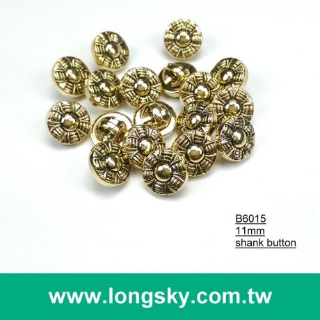 (#B6015/11mm) Taiwan fancy antique gold small shirt buttons with shank