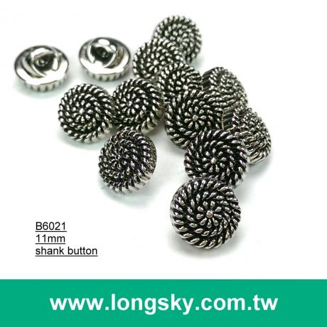 (#B6021/11mm) 17L nickel with black metallic lady blouse small buttons with shank from Taiwan