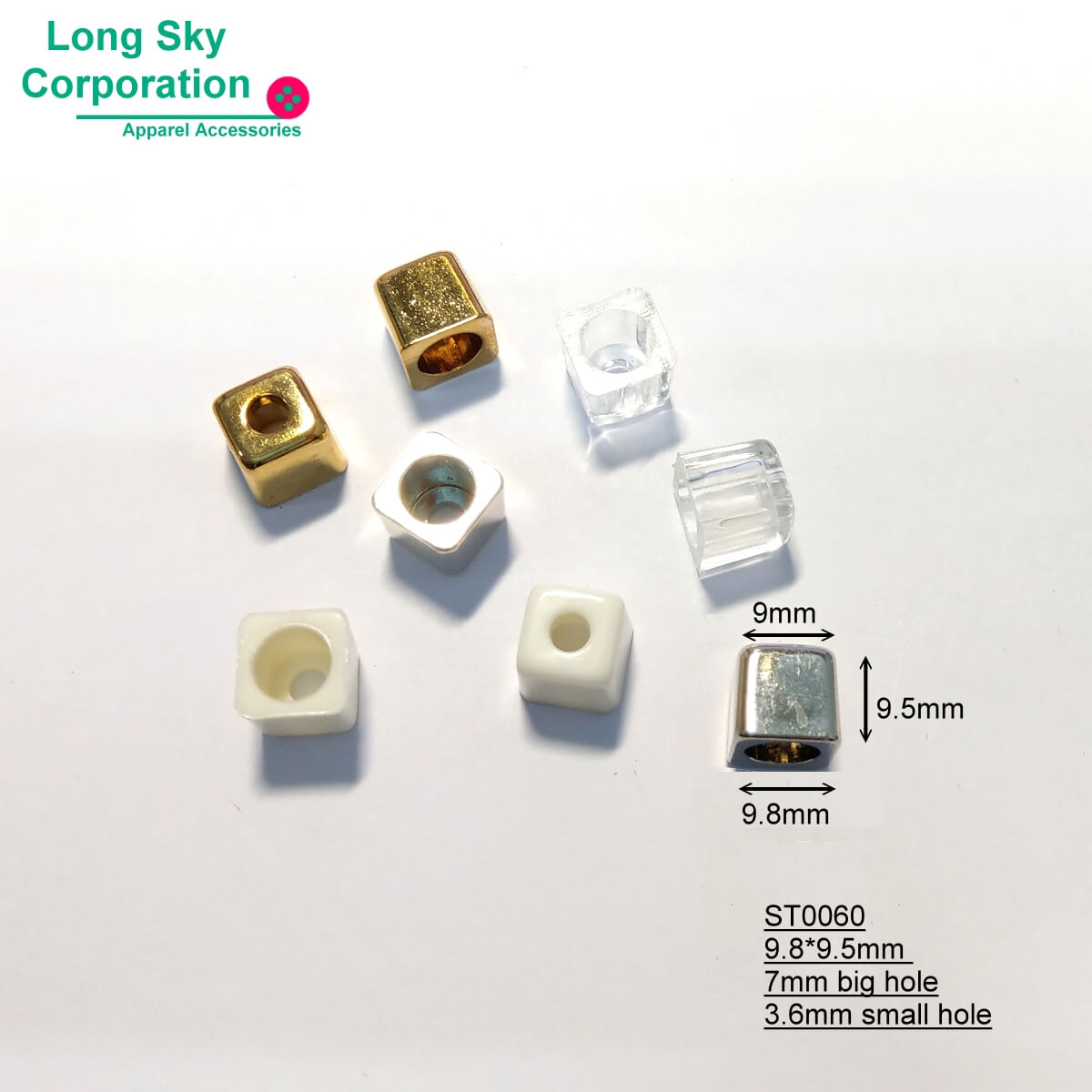 (#ST0060) 4mm small hole plastic cube cord end bead