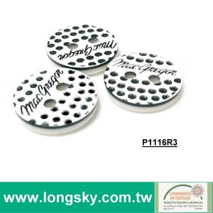 (#P1116CR3) 2 hole customized logo plastic button for clothing