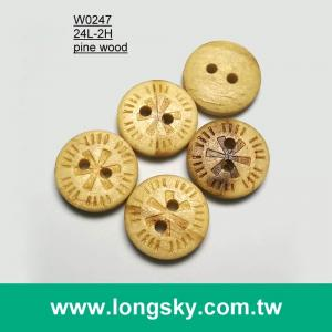 (#W0247) pattern carved natural wood button for blouse