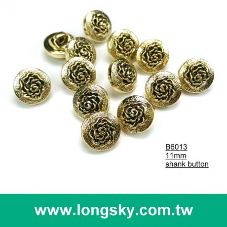 (#B6013/11mm) antique gold plated flower pattern 18L small button with shank