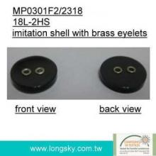 Imitation shell button with brass eyelets for shirt (#MP0301F2/2318)