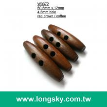(#W0372) 50mm long dark brown wood made toggle button