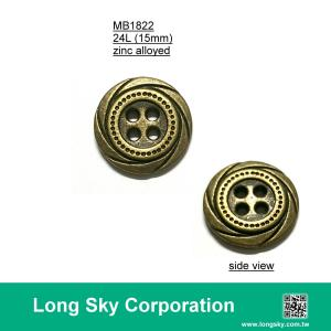 (MB1822/24L) 4-holes antique brass colour metal button for casual pants