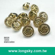 (#B6026/13mm) antique gold royal pattern plastic abs button for teens clothes