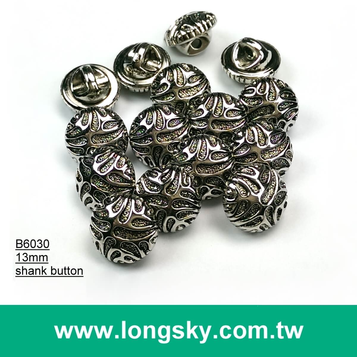 (#B6030/13mm) coat use animal stripe round plated abs plastic button with shank back