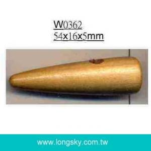 (#W0362) 54mm long horn shape one hole wooden toggle button
