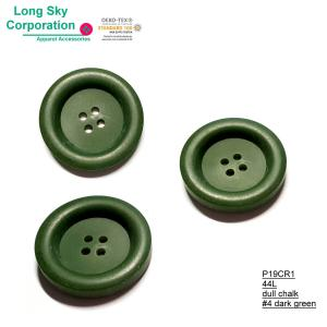 (#P19CR1) 44L 28mm big 4 hole button for army green jacket garments
