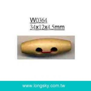 (#W0364) Barrel shaped natural wooden toggle button for winter coat