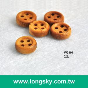 (#W0901) 13L 4-hole small natural wooden men shirt cuff button
