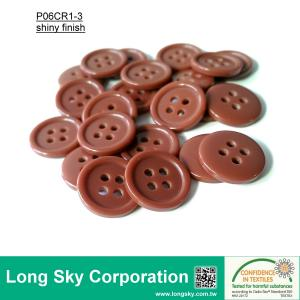 (#P06CR1-3) 15mm copper color 4-hole polyester resin hat button