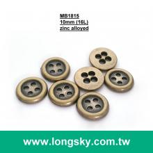 (MB1815/16L) 4-holes antique brass 1cm classial metal suit shirt button