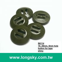 (#B6114) 19mm dull green military BDU slot hole button