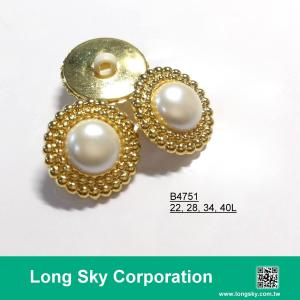 (#B4751/22L,28L,34L,40L) 2-piece gold-pearl white combination button for lady suit coat