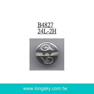 (#B4827/24L) 2 hole round with pattern silver plated button