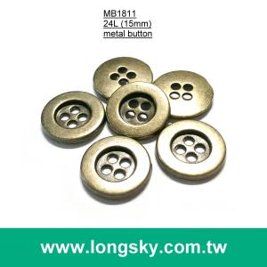 (MB1811/24L) 15mm 4 hole antique brass metal trousers button, suit button, clothing button