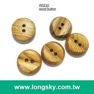 (#W0232) 2 hole fancy natural wooden shirt button