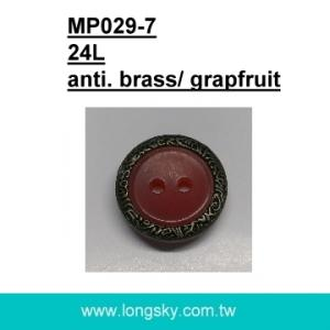 (#MP029-7/24L) grapefruit resin with brass metal rim button for braces