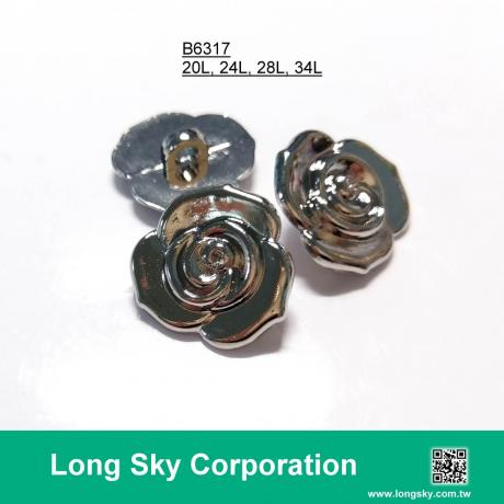 (B6317/20L,24L,28L,34L) silver rose shape apparel button