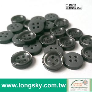 (P1013R2) dark grey 4 hole plastic resin round imitation shell shirt button