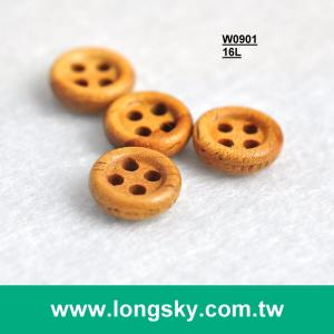 (#W0901) 16L 4 hole natural wood men shirt button