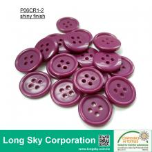(#P06CR1-2) 24L fuchsia color 4-hole polyester resin coat button