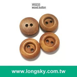 (#W0233) 2 hole fancy brown wooden clothing button