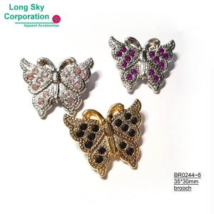 (BR0244~6) Colorful stone decorated metal butterfly brooch