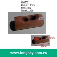 (#W0387) burned finish two hole natural wooden toggle for book cover