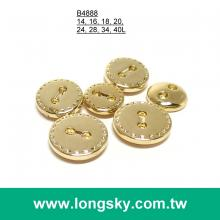 (#B4888) 14L 2-hole small size round designer shiny gold apparel button