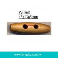 (#W0368) classical 2 holes wooden toggle coat button