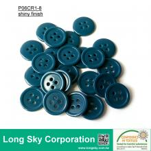 (#P06CR1-8) 15mm cyan color 4-hole polyester resin button for knit wear