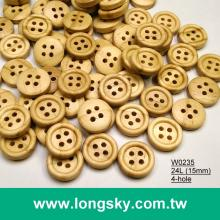 (#W0235) 4 hole round edge natural wooden craft button