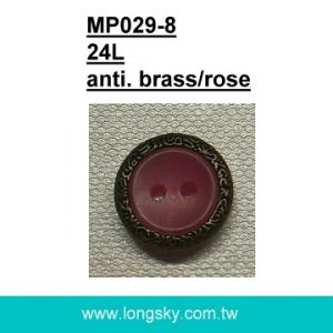 (#MP029-8/24L) ready for sale 15mm two hole sew on man braces button with rim for suspender