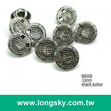 (#B6009/13mm) high quality antique silver plated fashion royal style shank button