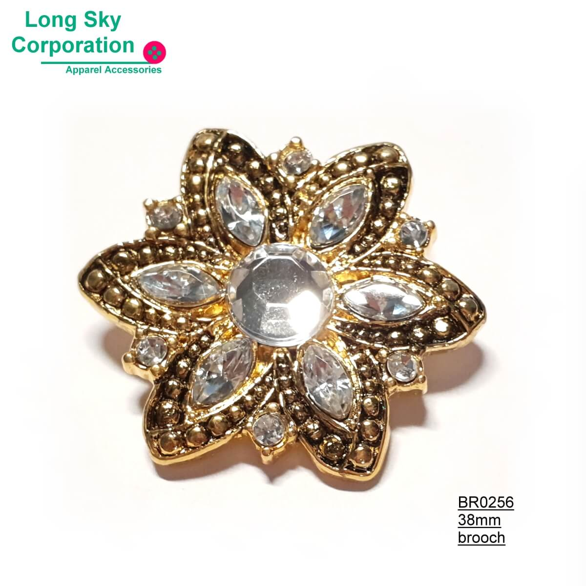 (BR0256~8) fancy stone decorated flower brooch for lady wear