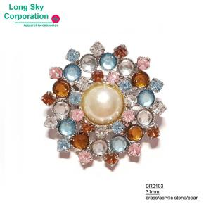 (BR0103) beauty stone and bead decorated round brooch for women summer dress