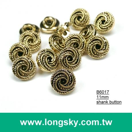 (#B6017/11mm) Taiwan fancy anthentic plated swirl pattern small shirt buttons with shank