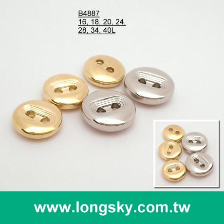 (#B4887) 2-hole small size round designer shiny gold garment button