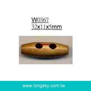 (#W0367) 2 holes natural wooden toggle button for garment decoration