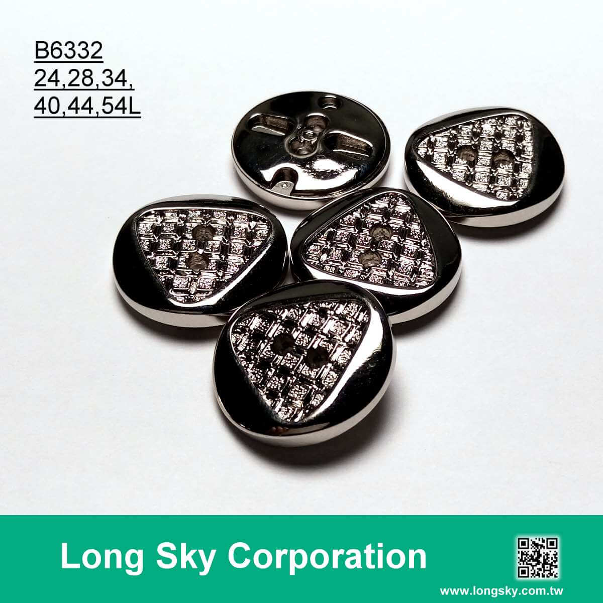 (B6332/24L,28L,34L,40L,44L,54L) 2 hole silver plating abs men suit button