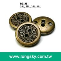 (#B3199) 2 hole antique brass plated plastic made traditional totem button