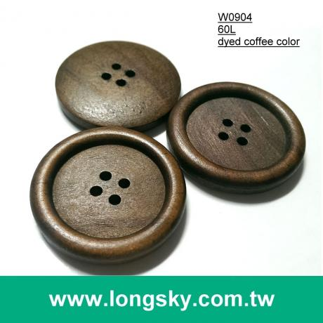 "(#W0904) 1.5"" 60L big size general design dyed natural wood button"